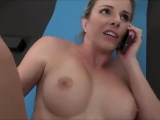 Mom fucks while on the phone..
