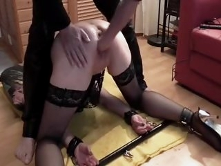 Bound squirting sub fisted..