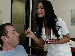Nurse takes matters in her..