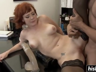 Redhead MILF in stockings..
