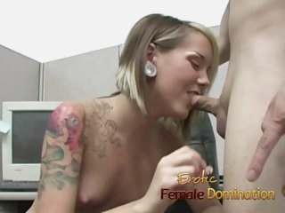 Skinny office slut dominates..