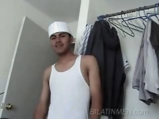 Latino guy strokes off his..