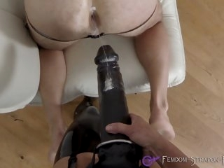 Femdom strapon fucking with..