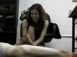 Hot lady boss jerks off her..